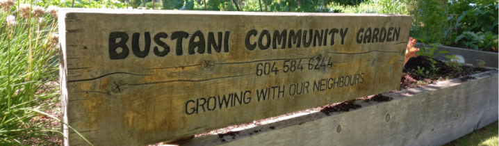 sign for bustani community gardens